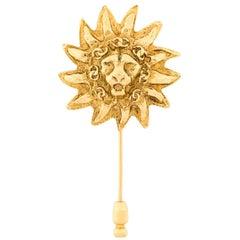 Chanel Logo Floral Lion Brooch