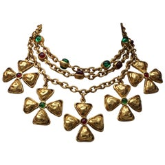 1980s Chanel gilded metal choker with Maltese cross pendants