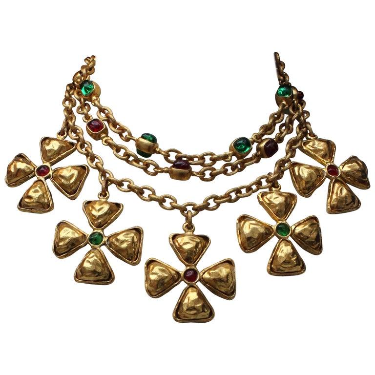 1980s Chanel gilded metal choker with Maltese cross pendants 1