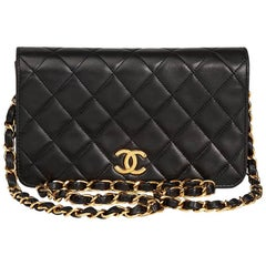 1995 Chanel Black Lambskin Leather Vintage Mini Flap Bag
