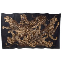 Yves Saint Laurent Vintage Giant Scarf Wrap Sarong with Leopards 90x54, 1980s