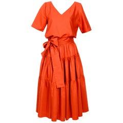 Yves Saint Laurent Vintage 1970s Peasant Skirt Top and Belt