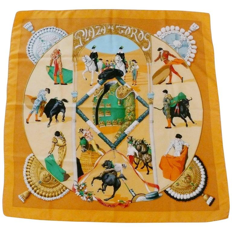 """Hermes Vintage Silk Carre Scarf """"Plaza de Toros"""" by Hubert de Watrigant"""