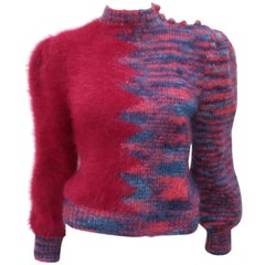 1970s Cranberry Red Angora Sweater