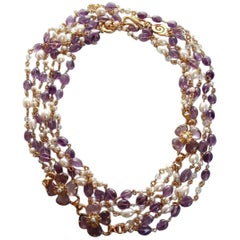 Goossens Paris Amethyst Clover Necklace