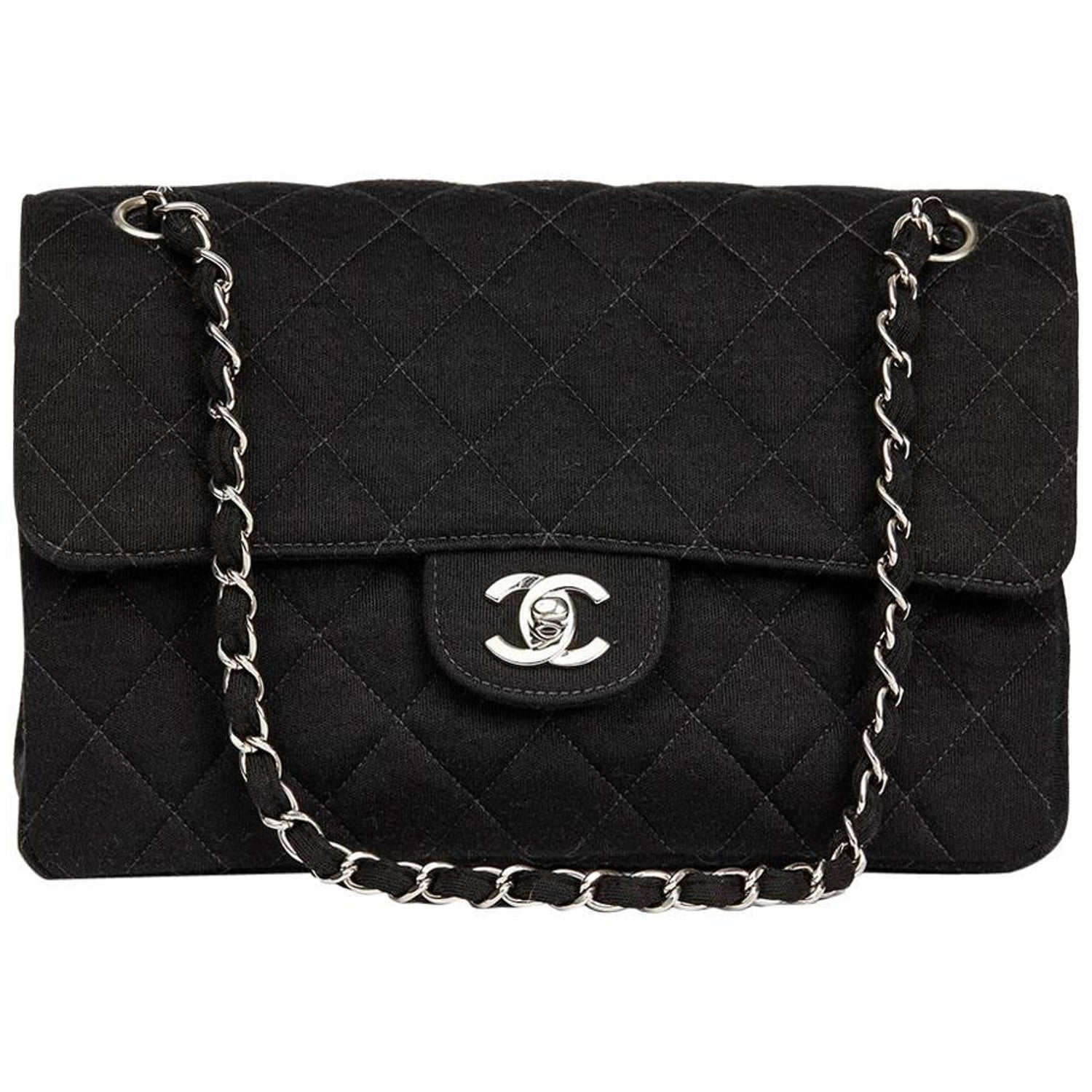 9049474754e3 Chanel Black Jersey Vintage Double Sided Medium Classic Double Flap Bag,  1996 at 1stdibs
