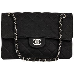 Chanel Black Jersey Vintage Double Sided Medium Classic Double Flap Bag, 1996