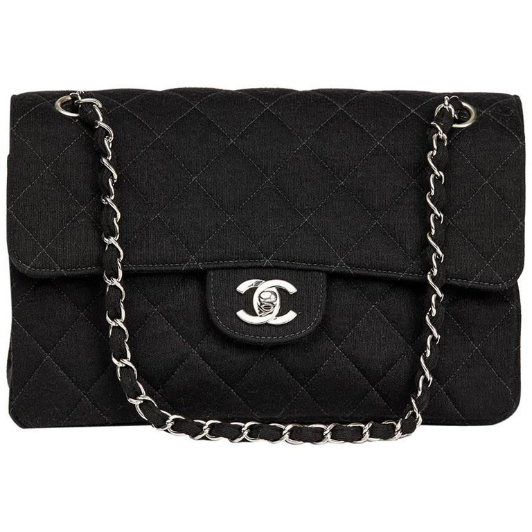 67d20bc6c3fb Chanel Black Jersey Vintage Double Sided Medium Classic Double Flap ...
