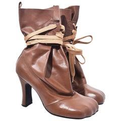Vivienne Westwood Gold Label Light Brown Leather Bag Boots