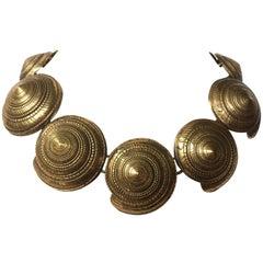 """Yves Saint Laurent Rive Gauche Large gilt """"shell"""" necklace, 1980s"""