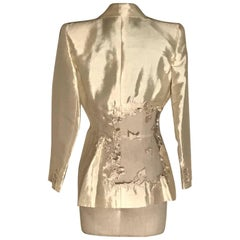 Alexander McQueen 1990s Runway Cream Lace Back Jacket Blazer