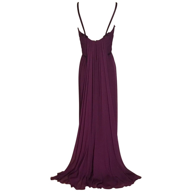 Malcom Starr 1960s Purple Silk Chiffon Evening Gown Dress For Sale