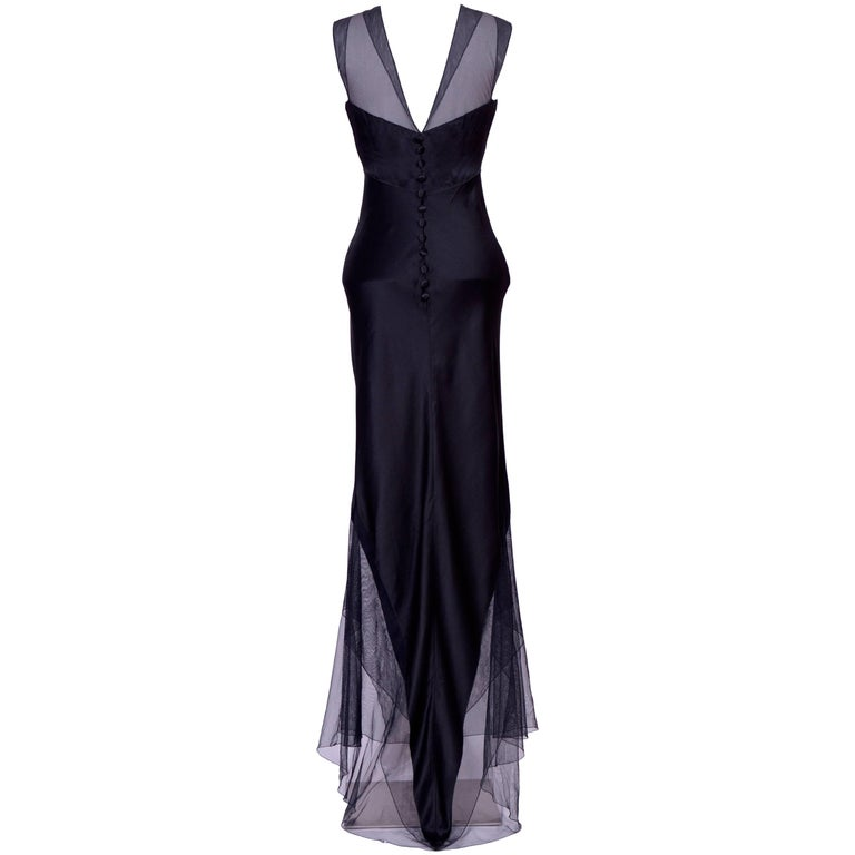 Karl Lagerfeld Black Silk and Tulle Evening Dress, 1990s  For Sale