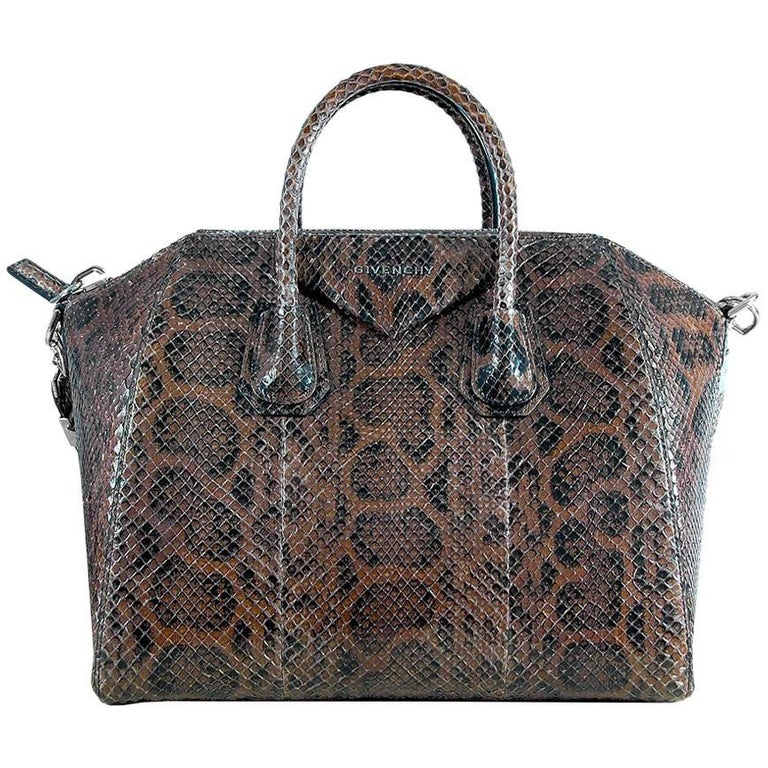 Givenchy Brown Python Antigona Medium Bag