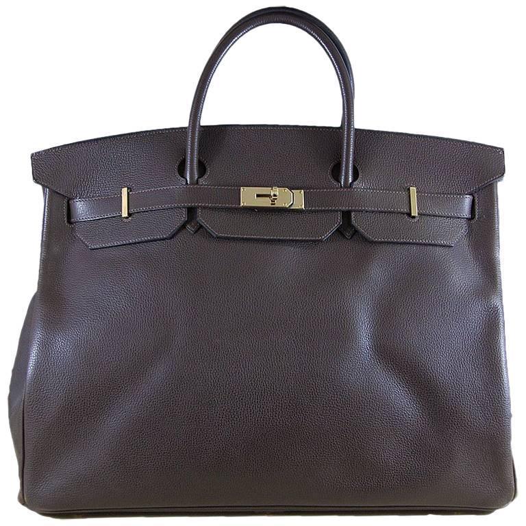 1ec6095b18b5 Hermes 50cm Brown Birkin Travel Bag at 1stdibs