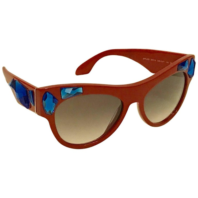 New Prada Voice Sunglasses Red with Blue Crystal Embellishment with Tags