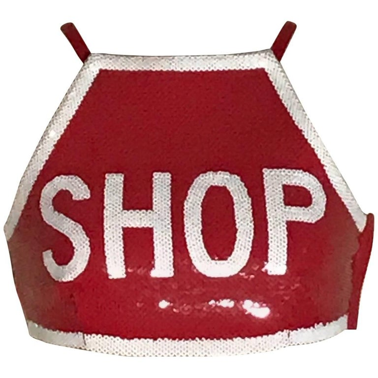 New Moschino Couture Sequin Shop Stop Sign Style Red Crop Top with Tags
