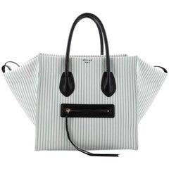 Celine Phantom Handbag Striped Canvas and Leather Medium