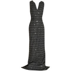 New Missoni Black and White Knit Sequin Accent Long Maxi Dress Gown with Tags