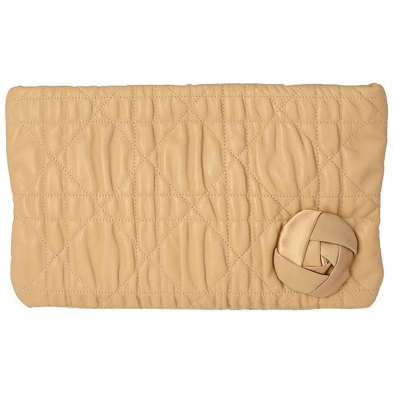 Christian Dior Beige Leather Clutch Bag