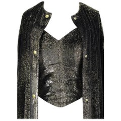 Custom-Made Metallic Gold and Black Lurex Velvet Bustier Coat Evening Ensemble