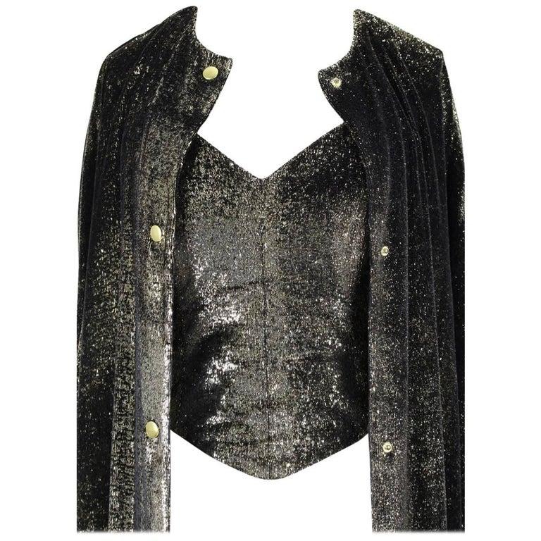 4a9c60d286f Custom-Made Metallic Gold and Black Lurex Velvet Bustier Coat Evening  Ensemble For Sale