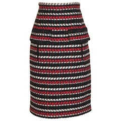 New Oscar de la Renta Runway Red White Black and Blue Pencil Skirt
