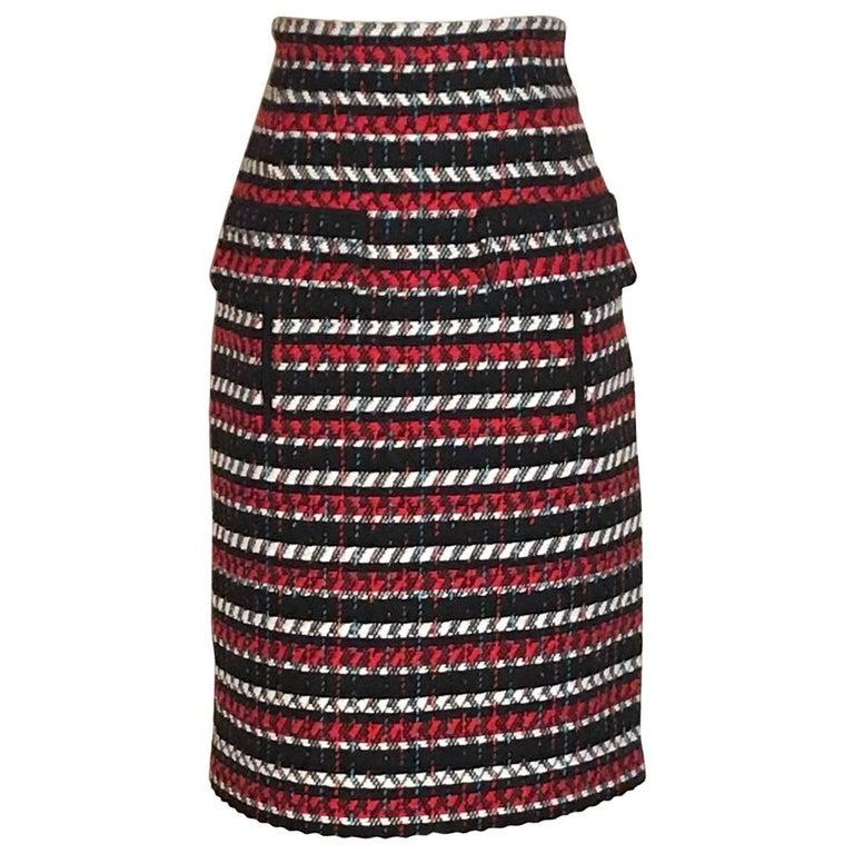 New Oscar de la Renta Runway Red White Black and Blue Pencil Skirt