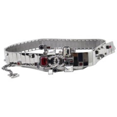 "Chanel 2005 ""Tapis Rouge"" Steel  Belt with Swarovski Crystals Size 80"