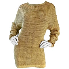 Marshall Rousso Vintage Gold Metallic Studded One Size Slouchy 1980s Sweater