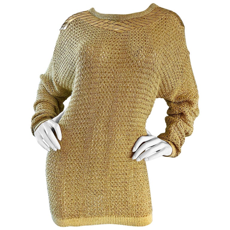 Marshall Rousso Vintage Gold Metallic Studded One Size Slouchy 1980s Sweater For