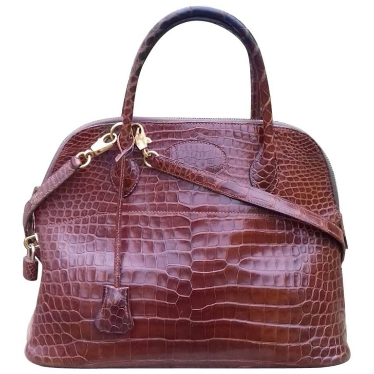 Hermes Bolide Bag 2 ways Cognac Crocodile Porosus Golden Hdw 31 cm