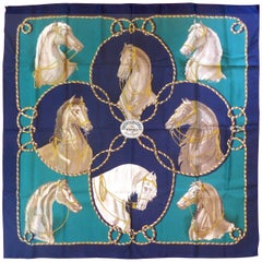 "Hermes ""Brides Legeres"" Vintage Show Horse Motif Silk Scarf by Françoise Heron"