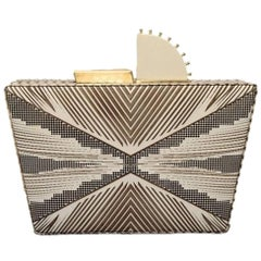 Tanya Hawkes Cream and Gold Box Clutch