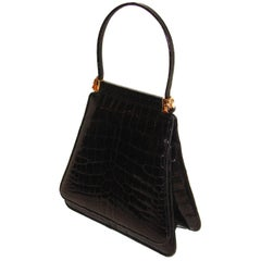 Judith Leiber Black Alligator Evening Purse