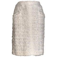 Chanel Cream White Sequin Fringe Tweed Pencil Skirt