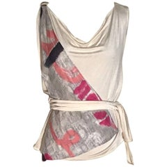 Christian Dior Logo Print Cream Silk Tank Top Shirt