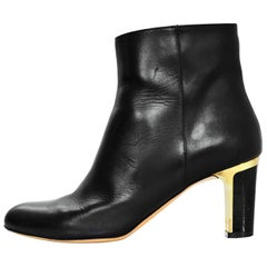 Salvatore Ferragamo Black Leather Ankle Boots Sz 6