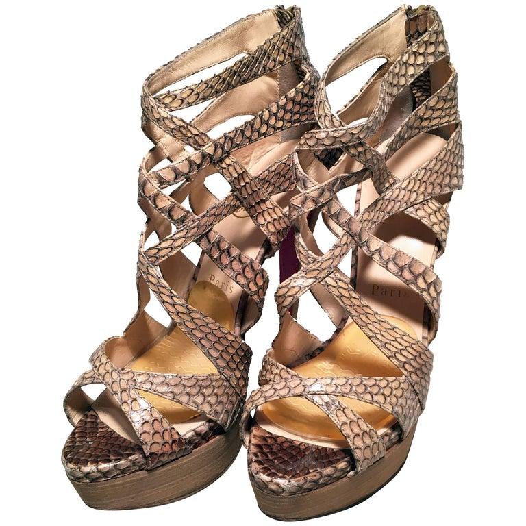 Christian Louboutin Natural Tan Snakeskin Python Cut Out Stiletto Heels Size 38