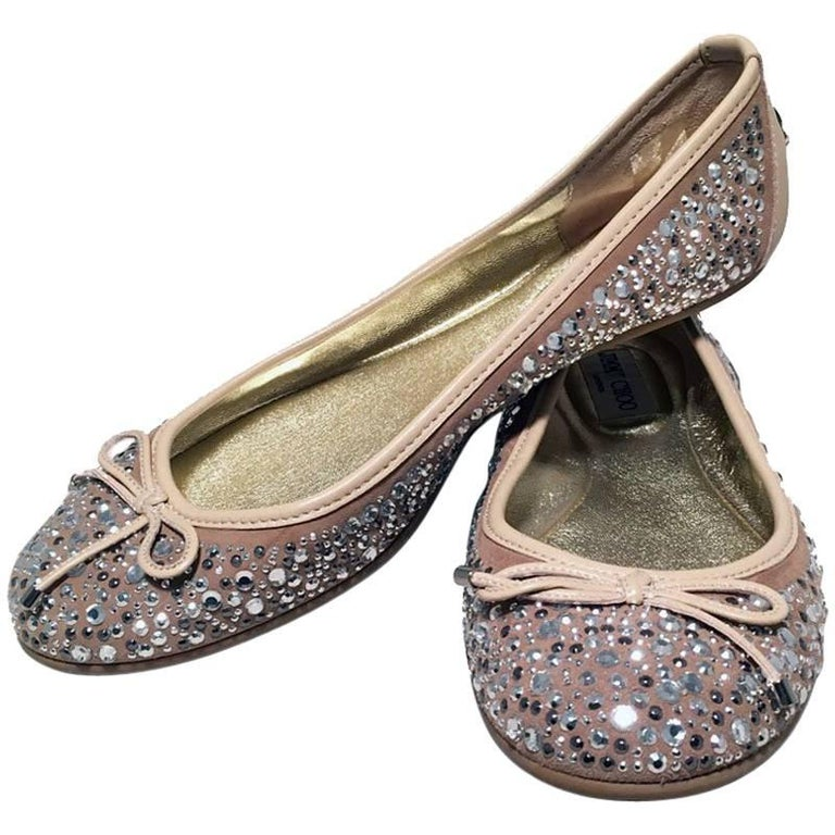 Jimmy Choo Nude and Gold Crystal Studded Ballet Flats Size 37