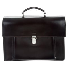 Brunello Cucinelli New Black Leather Silver Men's Travel Business Case Tote Bag