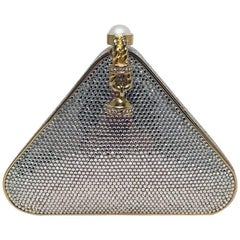 Judith Leiber Swarovski Crystal Triangle Minaudiere Evening Bag