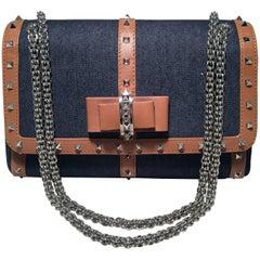 Christian Louboutin Blue Denim and Tan Studded Leather Shoulder Bag