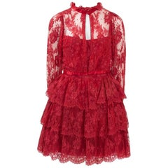 Torrente Ruffled Lace Mini Dress Suit