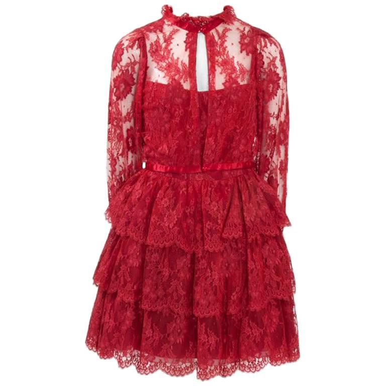 Torrente Ruffled Lace Mini Dress Suit