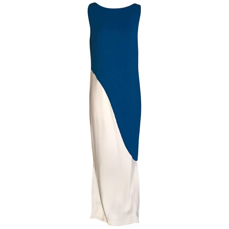 New Emilio Pucci Blue and White Jersey Column Maxi Dress Gown with Tags For Sale