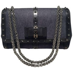Christian Louboutin Blue Jean Denim and Black Studded Leather Shoulder Bag