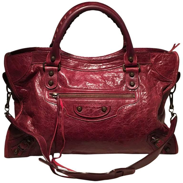 Balenciaga Red Leather Classic City Bag For