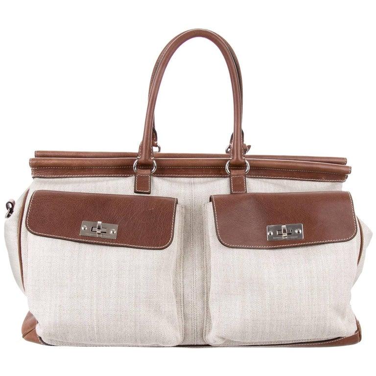 Brunello Cucinelli New Men's Leather Canvas Cognac Carryall Travel Weekender Bag