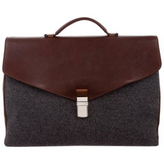 Brunello Cucinelli New Leather Cognac Wool Men's Travel Business Case Tote Bag